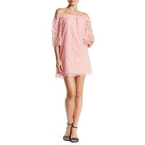BB Dakota Halden Off-The-Shoulder Dress Pink